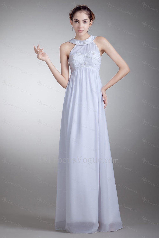 Chiffon Jewel Floor Length Empire Line Embroidered Wedding Dress ...