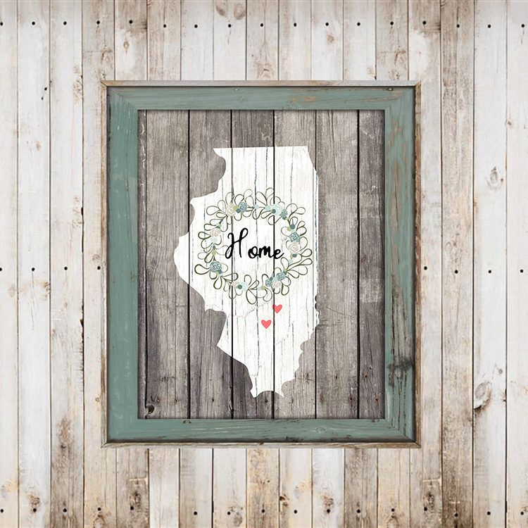Farmhouse barn wood state with home wreath printwall art