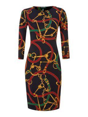 Lauren By Ralph Lauren ¾ Sleeve Crewneck Dress