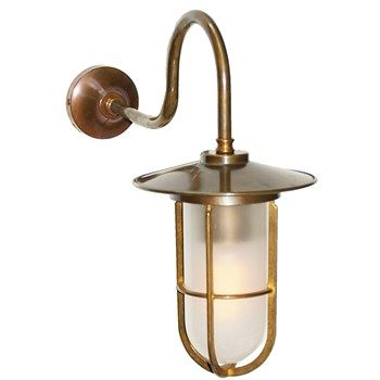 Large Outdoor Traditional Swan Neck Wall Light With Brass Cage