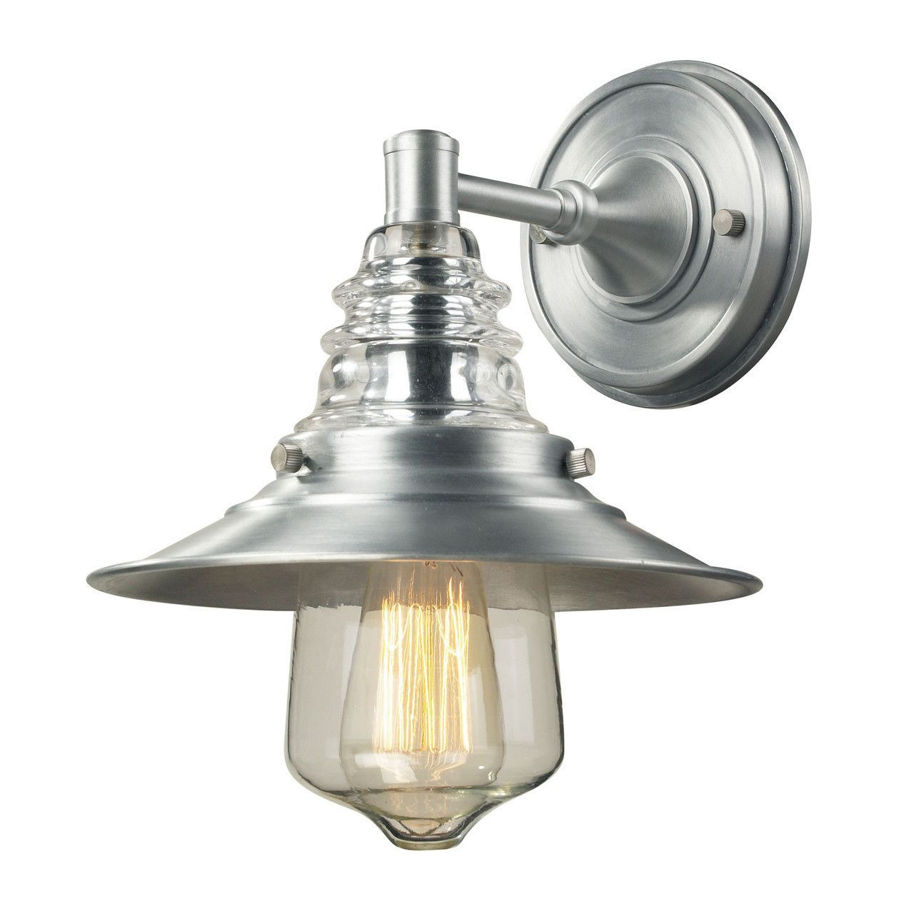Insulator Glass 1 Light Outdoor Sconce In Brushed Aluminum 66700-1