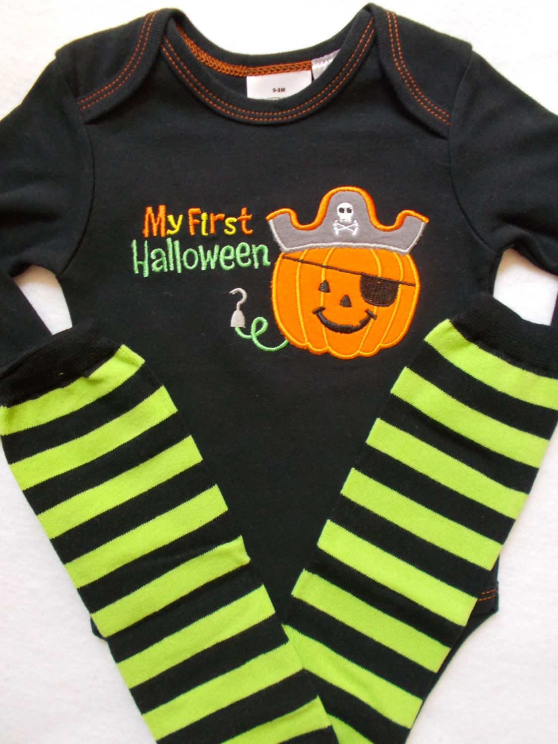 First Halloween outfit pirate costume pumpkin baby boy