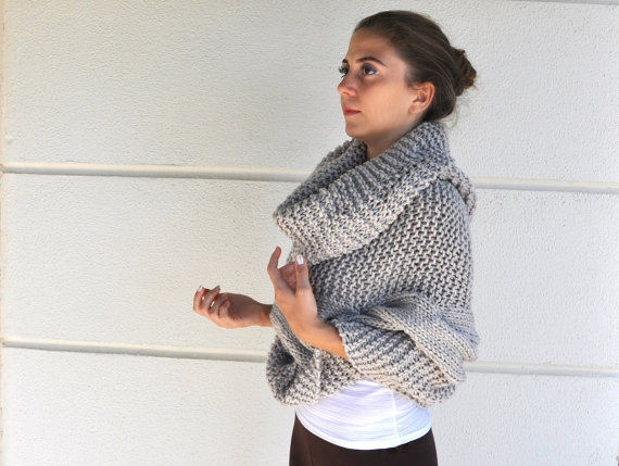 Poncho Cape Sweater Cardigan Chunky Wrap Sweater Hand Knit Beige ...