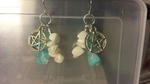 Aqua and white stone on sterling silver