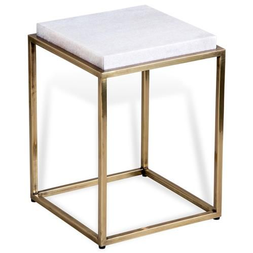 Carlton Hollywood Regency Square White Marble Antique Brass Side End Table In 2020 White Marble Side Table Side Table Design Brass Side Table