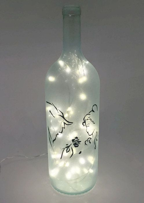 Beauty And The Beast Wine Bottle Lamp Wedding By Shopofbottles