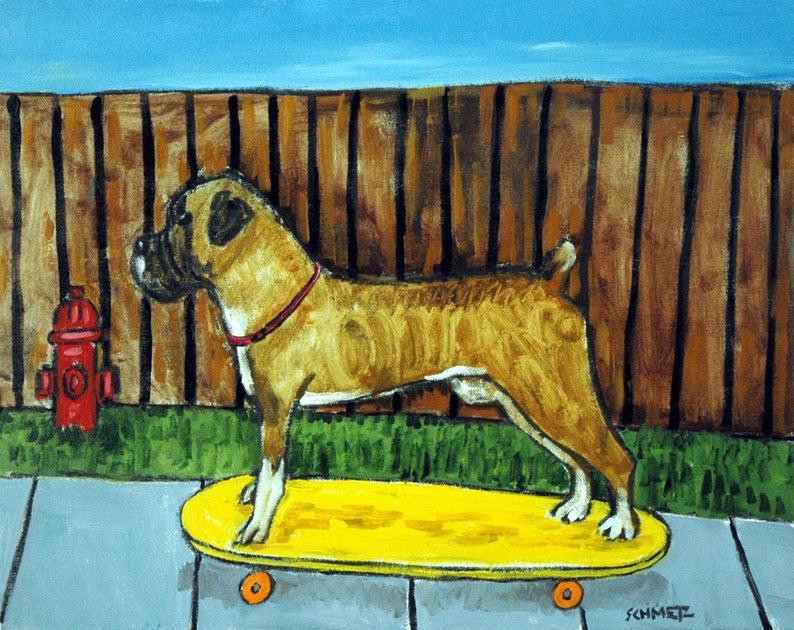 boxer dog sleeping dog art tile coaster gift artwork