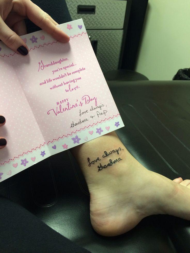 Memory Tattoo In Remembrance Tattoosmemorial Tattoos Grandmain Signature Tattoos Writing Tattoos Handwriting Tattoos