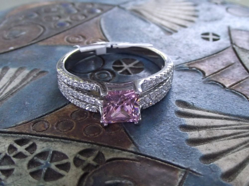 Simulated Pink and White Diamond Sterling Silver Ring. Women's Size 8.75 #SolitairewithAccents