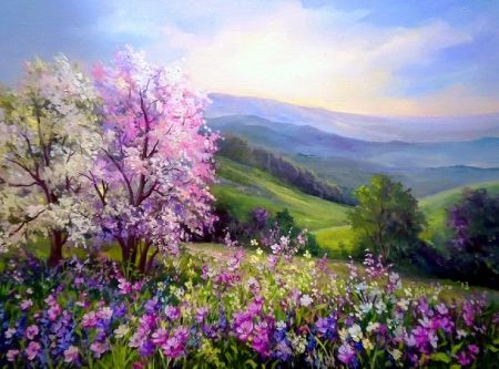Painted Spring Backdrops For Pictures Blossoms Spring Shine Sky Blooming Light Purple Pai Landscape Paintings Landscape Art Watercolor Landscape