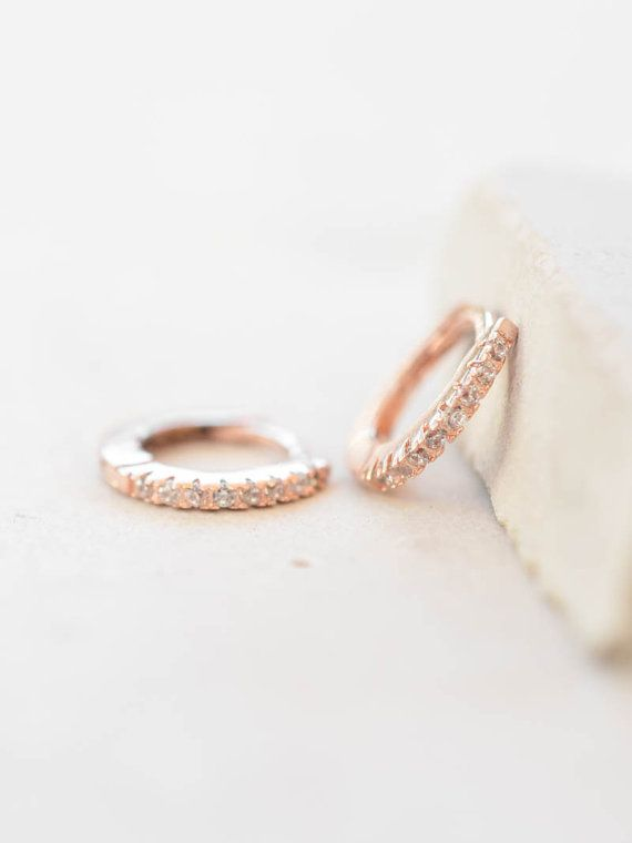 757c52e69 Thin Mini Ear Huggie Hoop Earrings, ROSE GOLD - micro pave cz cartilage  hoops