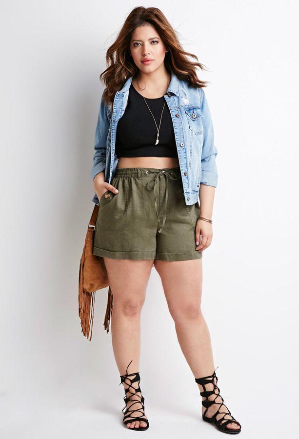 Plus Size Drawstring Cuffed Shorts | black crop top | jean jacket | strappy flat…