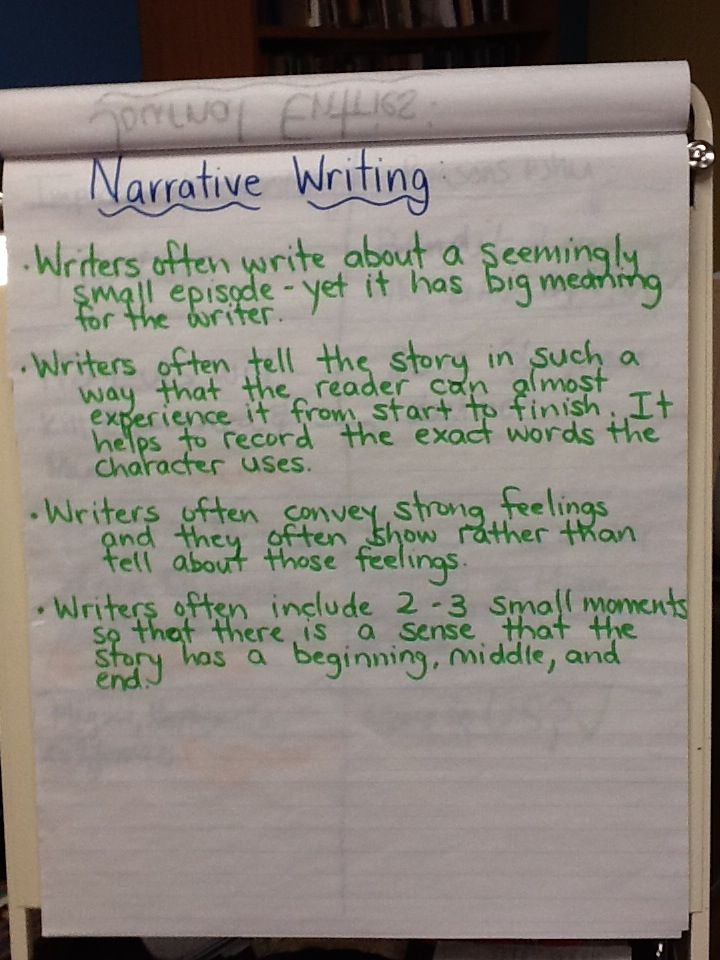 Narrative writing anchor chart inspired by the work of ...