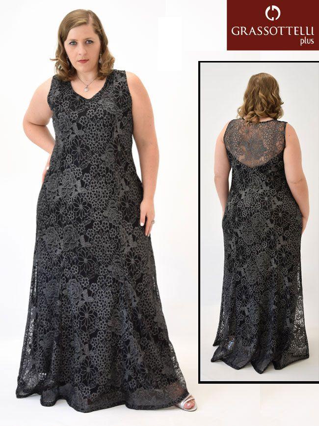 Vestido Festa Longo Regata Renda Preto Plus Size | Vestidos Plus ...