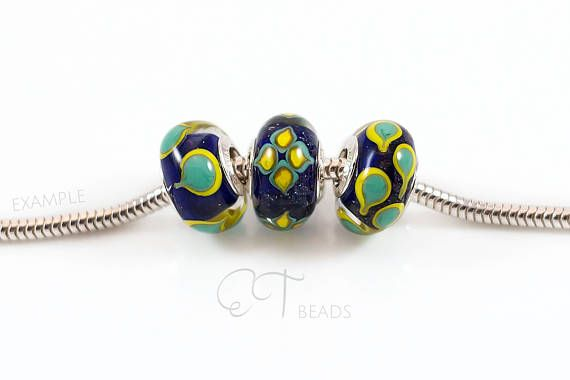 Colorful bracelet bead european charm Murano glass bead Blue