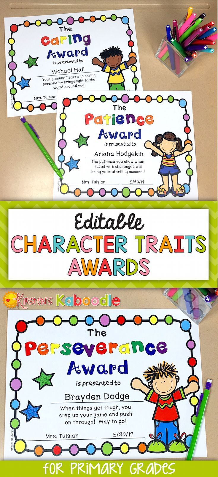end of year awards  character traits awards for lower
