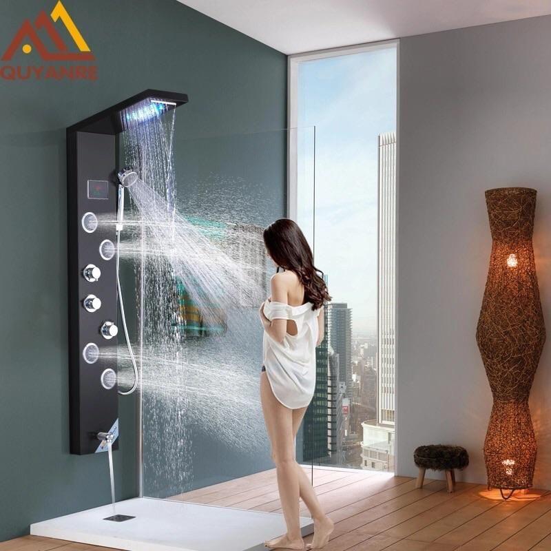 Bathroom Shower Black Digital Shower Faucets Set 2-way Digital Display Mixer Tap