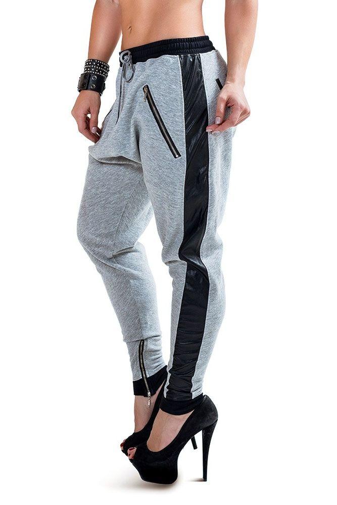 calças de moletom femininas cinza com couro preto Calça Swag Feminina d50e22e1372