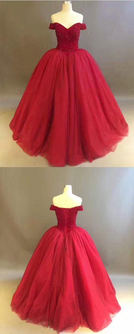Wine red off the shoulder ball gown prom dress in fashion