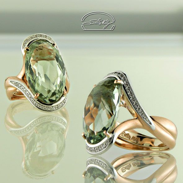 "Anello Prasiolite e Diamanti - Prasiolite Ring and Diamonds - Precious Jewelry - Jewels - Silvia Kelly Gioielli ""The Made in Italy - Italy - www.quelchevale.it"
