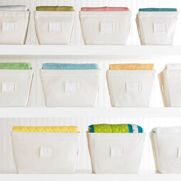 Natural Open Canvas Storage Bins With Labels