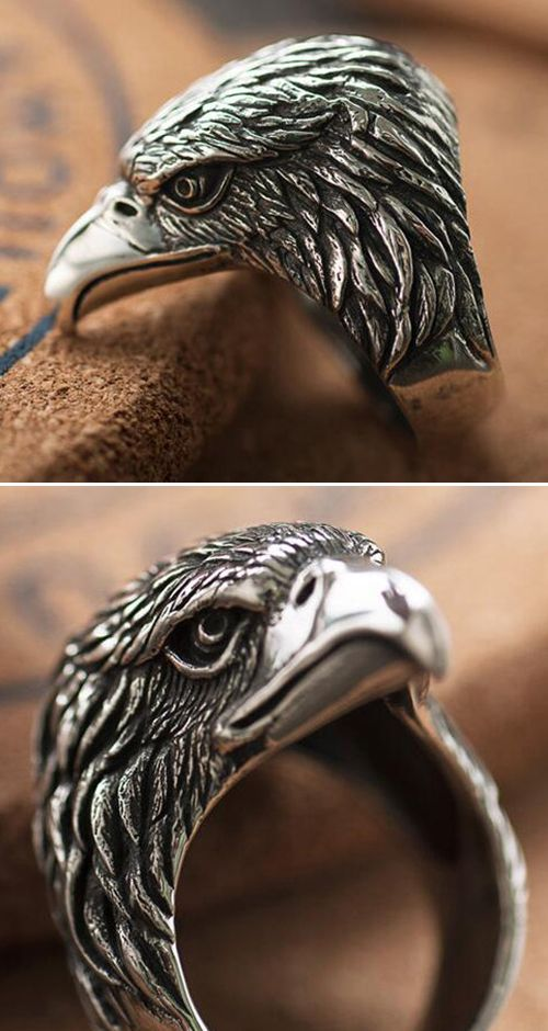 Men S Sterling Silver Eagle Head Ring Mens Rings Fashion Silver