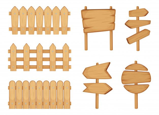 Fences of garden and signs with wood tex  Premium Vector