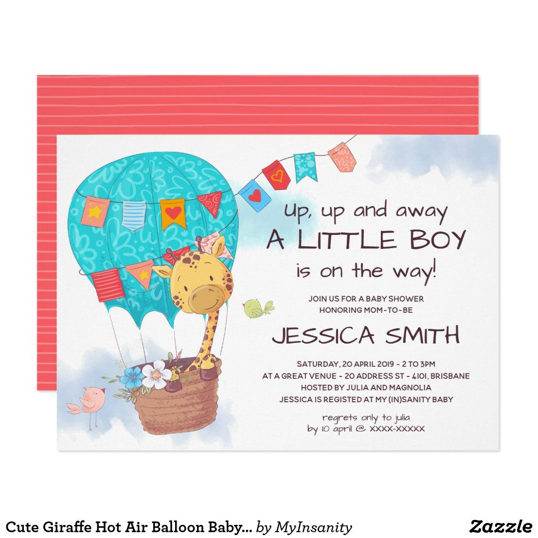 Cute Giraffe Hot Air Balloon Baby Shower Invitation | Zazzle.com