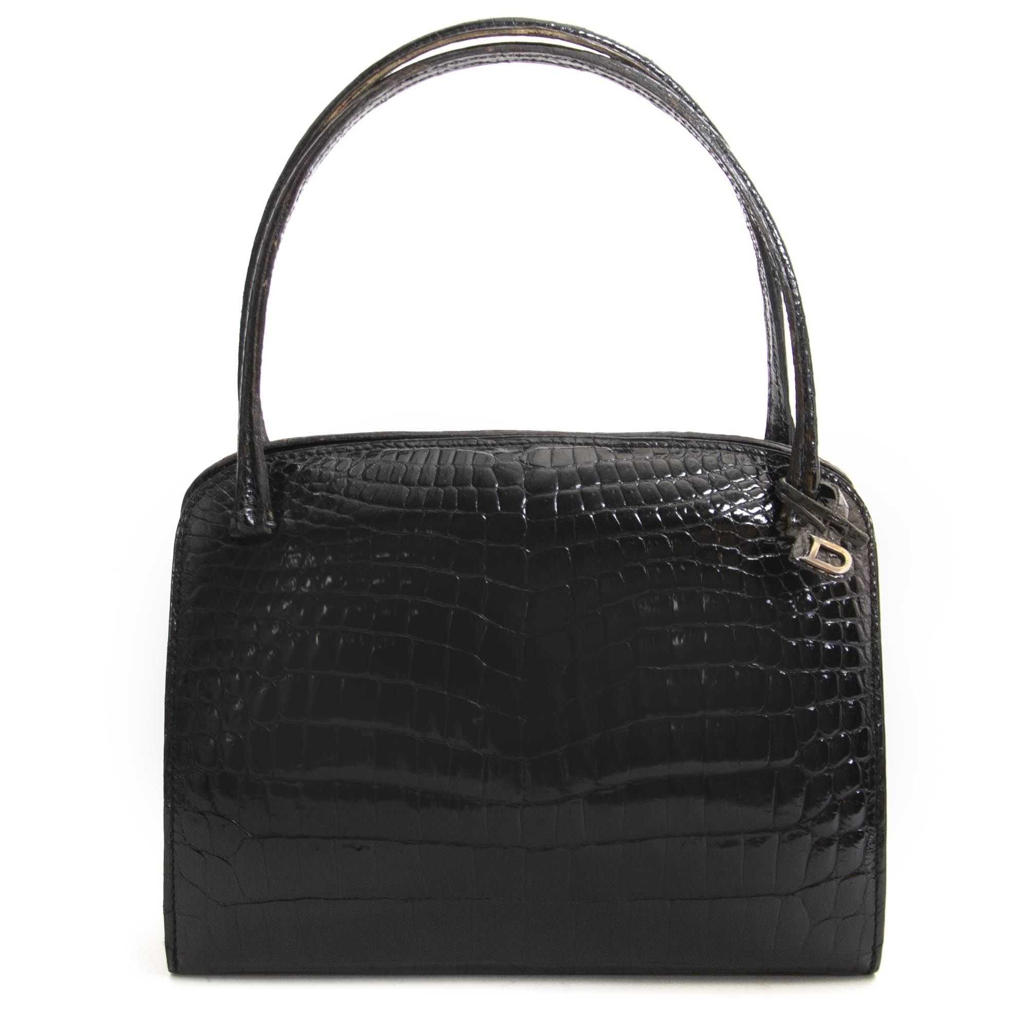 2c2169b78097 Delvaux Vintage Black Croco Top Handle Bag