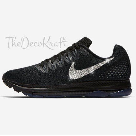 Womens Nike All Out Zoom Low Black Grey Platinum Aura Custom Bling Crystal  Swarovski Sneakers be471c2d9