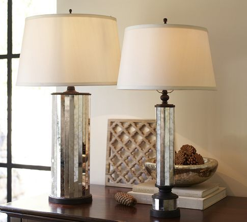 Parsons Antiqued Mirror Table Lamp Base Pottery Barn X2