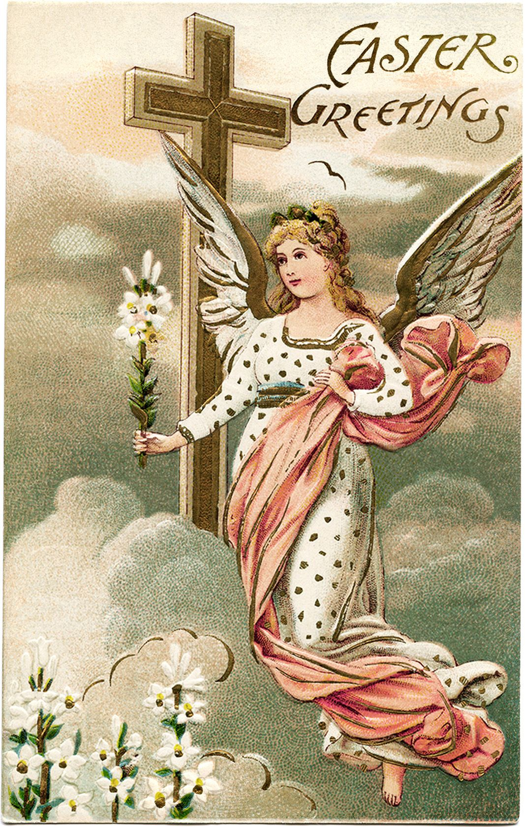 vintage easter postcard angel card old fashioned postcard