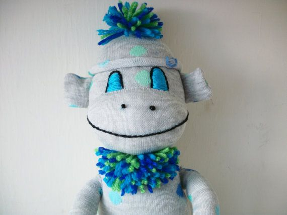 Sock Monkey Grey with Blue and Green Polka Dots by ChickSprings, $21.95