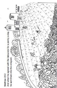 Matthew 20:1-16; Parable of the Vineyard Workers; Workers in the Vineyard Coloring Page