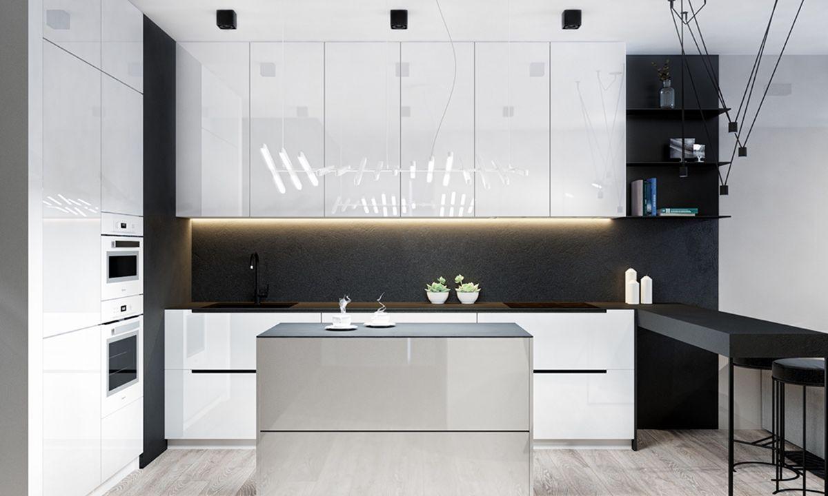 7 Fabulous Monochrome Kitchen Design Idea For A Minimalist Impression In A Kitchen Room Kit White Modern Kitchen Kitchen Design White Kitchen Design