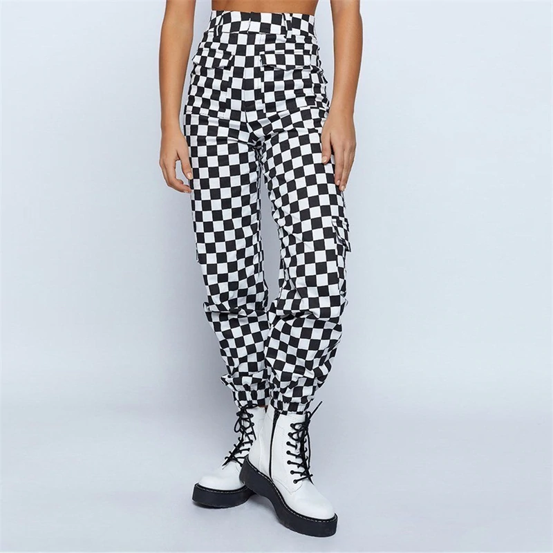 High Waist Plaid Pants Trousers For Women Checkered Pants Multi Pocket Trousers Loose Sweat Ladies Panta Pants For Women Women Pants Casual Jogger Pants Casual