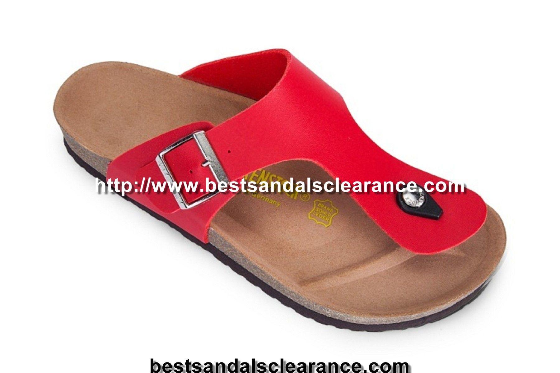 397d6afcb9e1 Old Style Birkenstock Gizeh Mens Leather Sandals Red