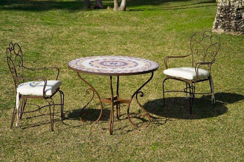 Mesa de forja con tablero de piedra y sillones serie Toledo http ...