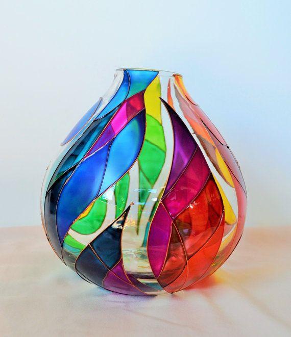 Rainbow Vase Glass Painting Di Vitray Su Etsy Designs Glassware