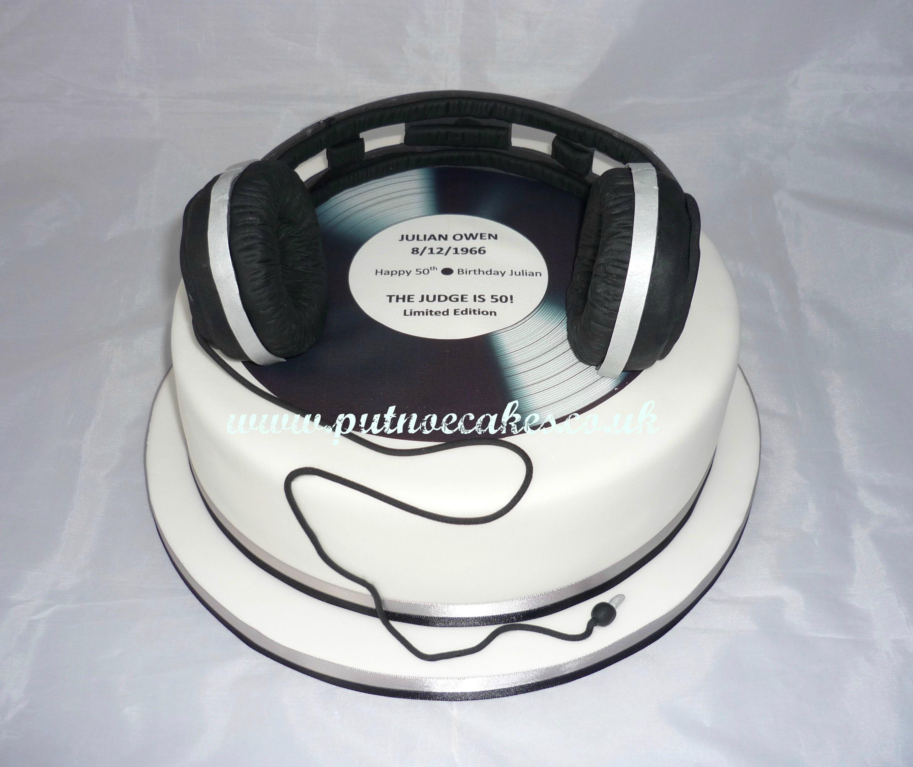 Vinyl and DJ headphones 50th Birthday cake My creations