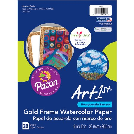 Art1st Gold Frame Watercolor Paper 9 Inch X 12 Inch 30 Sheets