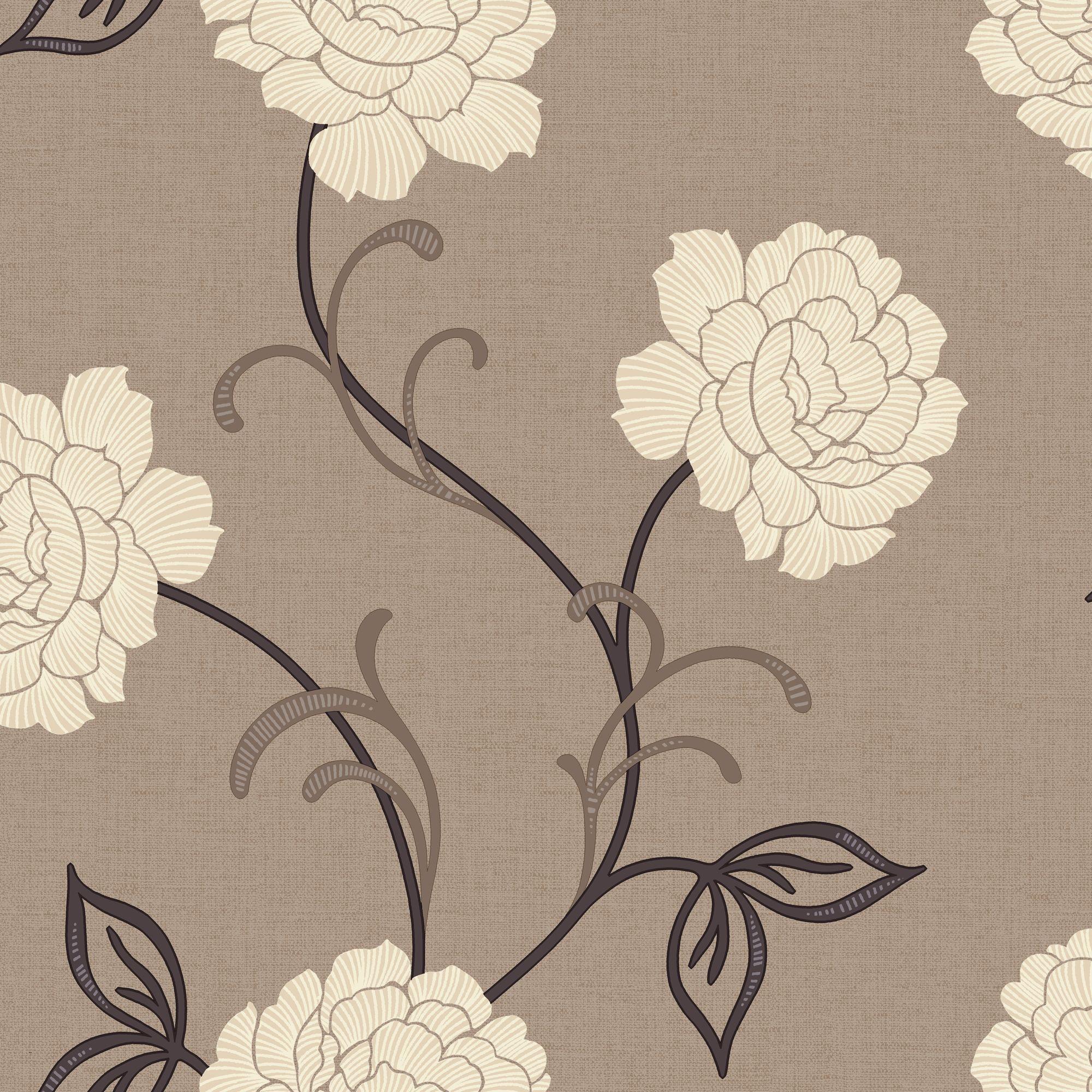 Arthouse Opera Lauren Brown Cream Wallpaper Departments Diy