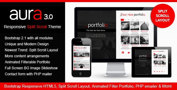 Download Aura Responsive Split Scroll on Bootstrap Site