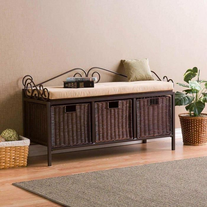 Perfect Bench To Have By The Front Door Bench With Storage Storage Bench With Baskets End Of Bed Seating