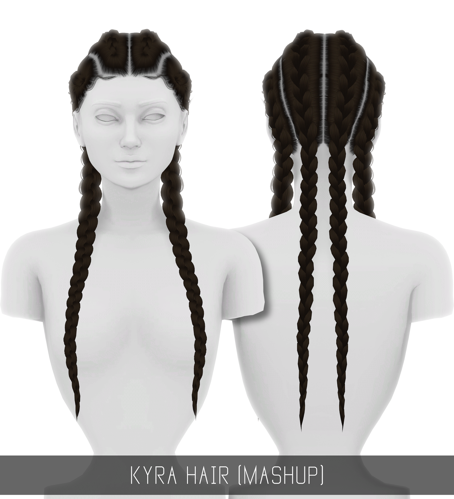 sims 4 cc // custom content hairstyle // braids