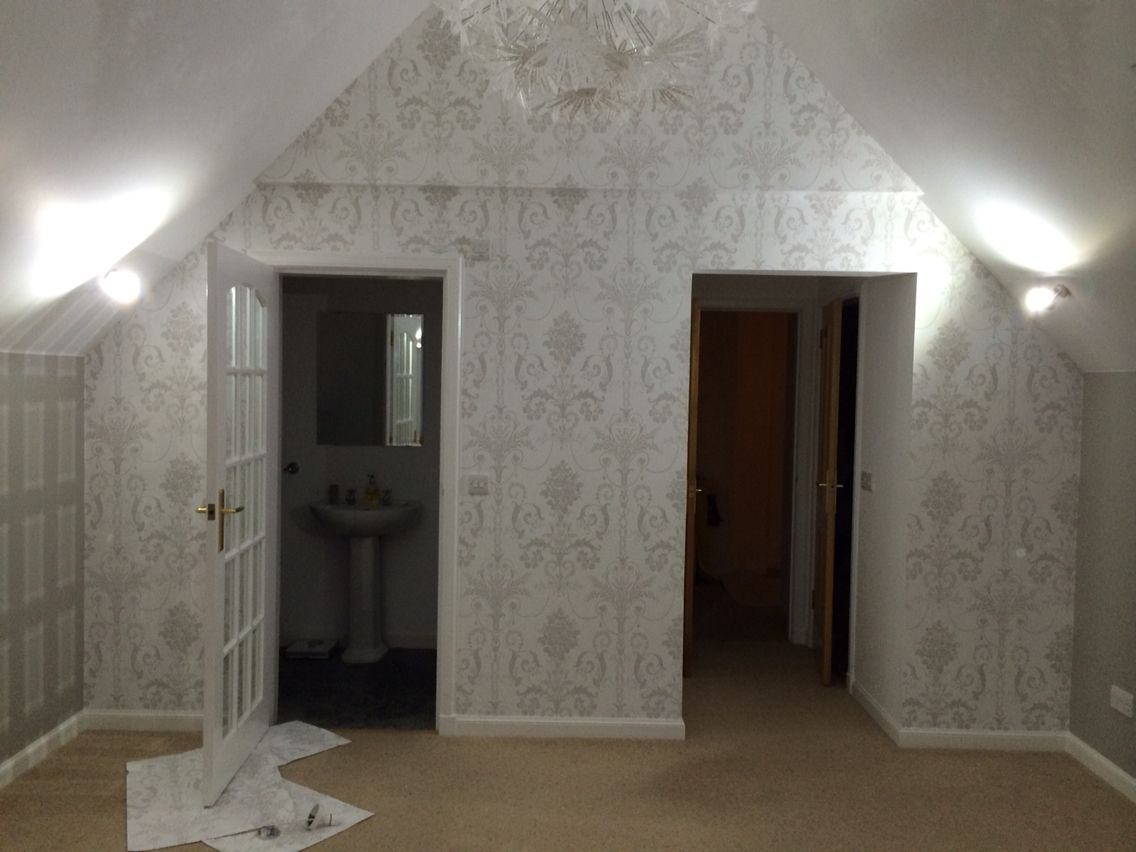 Laura Ashley Wallpaper Josette Dove Grey And White Farrow And Ball Purbeck Stone And White