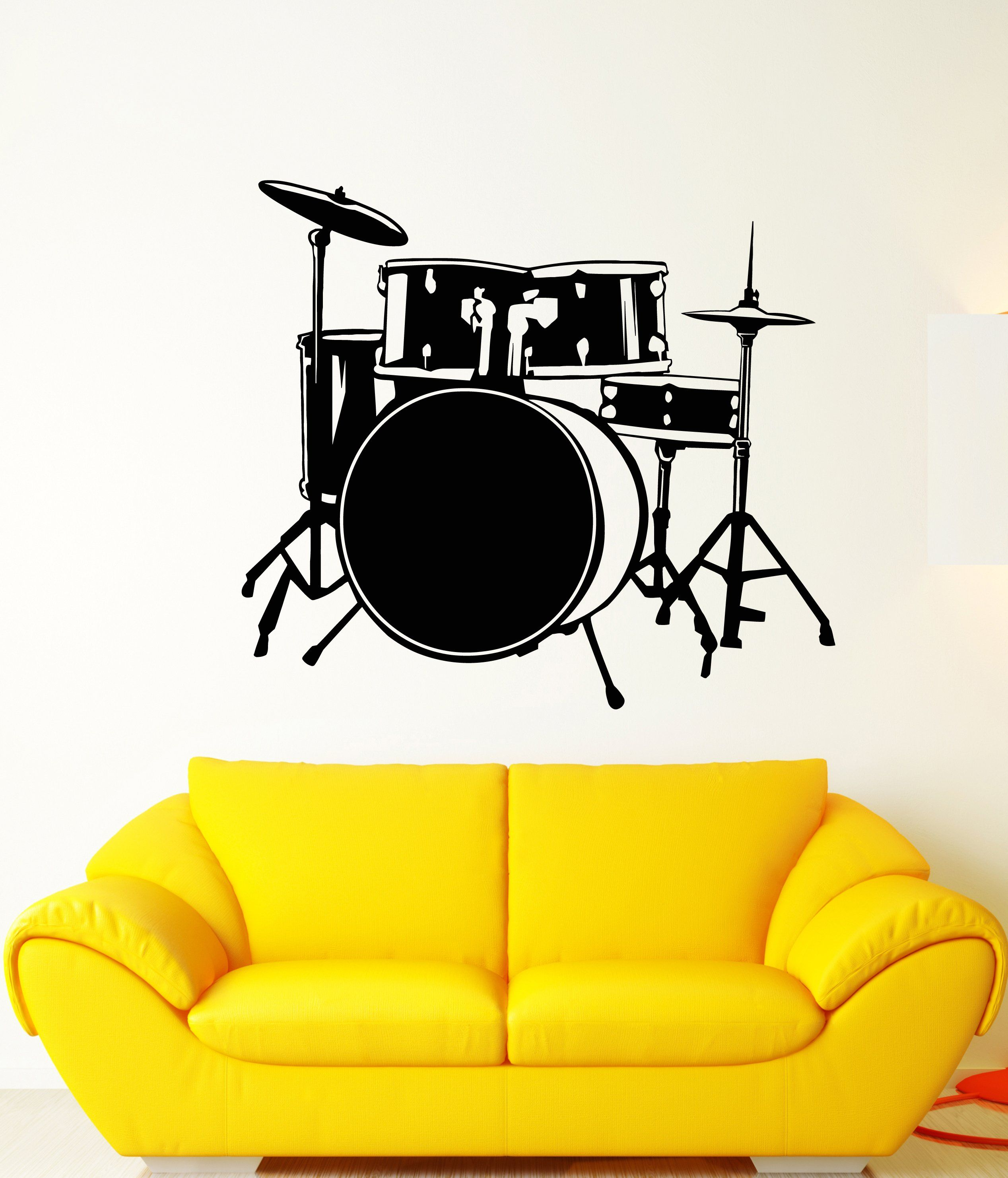 Vinyl Wall Decal Drum Kit Drummer Music Musician Musical Instrument ...