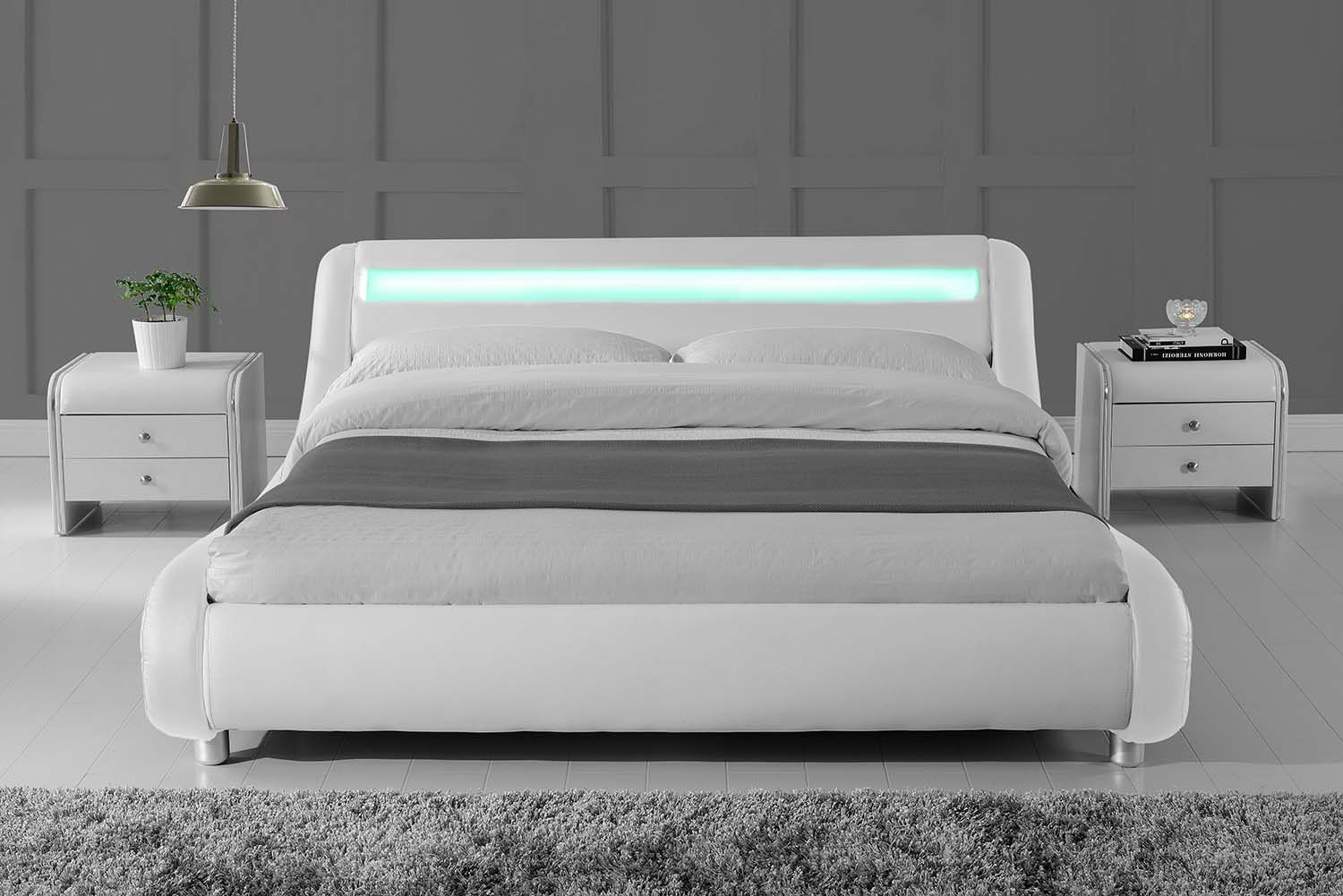 White LED Lights Headboard Modern Designer Low King Size