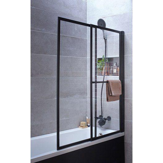 pare baignoire 2 volets pivotant coulissant 140 x 123cm verre transparent lift inspiration. Black Bedroom Furniture Sets. Home Design Ideas