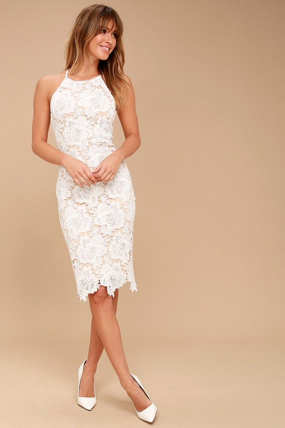 8acdfdbd909a9 Lulus | Temps De L'Amour White Lace Bodycon Midi Dress | Size X-Small |  100% Polyester